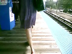 Sweet Blonde Upskirted at the Train Station