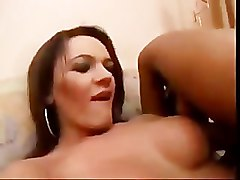 Big Tit Tranny Comes All Over Lesbian Lover.