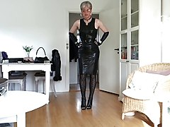 Sissy sexy tight black leather dress 1