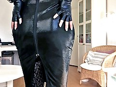 Sissy sexy tight black leather dress 4