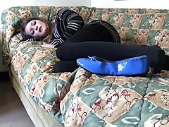 Sasha blue flats black pantyhose shoeplay full vid