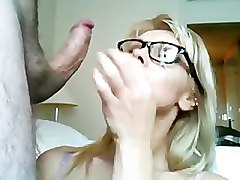 Hugh Cumshot on Hot Blonde with Glasses