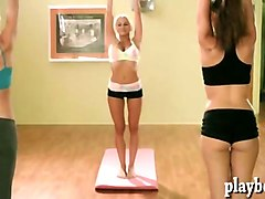 yoga class with sexy hot babes while naked to stay fit
