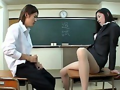 japanese teacher gives student stocking footjob