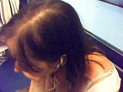 deep close up downblouse in paris subway