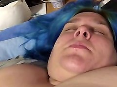 fat ugly german bitch playing with her saggy tits