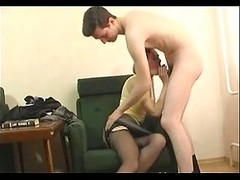 Skinny Granny In Open Hose Fucks A Boy