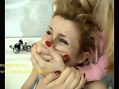 beautiful girl handgagged by 2 other girls