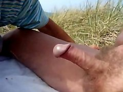 grandpa gets drained his delicious cock at the beach