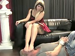 german girl's big feet smother his face