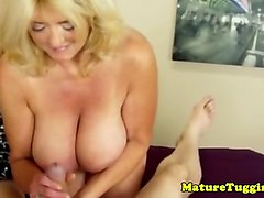 mature handjob housewife tugging stepson