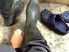 rubber boots, nylon