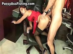 Horny slut gets her gaping asshole part1