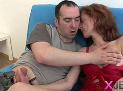 Mature red-head gets down and dirty