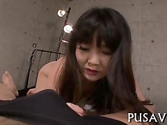 hot asian babe and a giant dildo