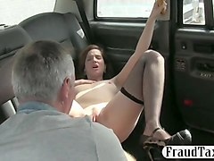 horny passenger fucked in the backseat to off her fare