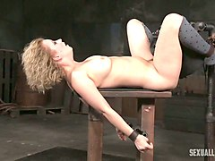 blonde sweet milf material bound and pounded on the table