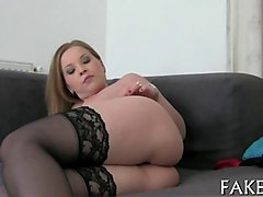 chubby blonde chick getting fucked by fake agent on hidden cam