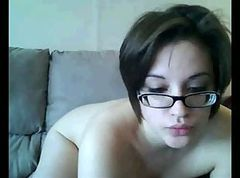 woman with glasses on webcam part 2