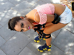 Carolina Abril in Rollerblading Latina Gets Drilled - TeamSkeet