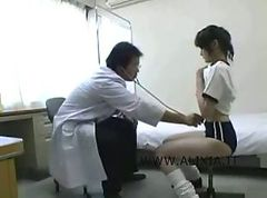 Piggy doctor with asianschoolgirls