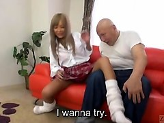 subtitles japanese schoolgirl bald old man head masturbation