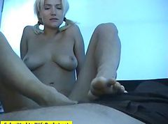 wife giving footjob and handjob outdoors