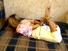 Handcuffed and hogtied girl