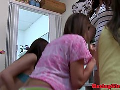 Bigtitted lesbian amateur toyed by students