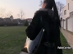 Sexy milf fucks outdoors for cash