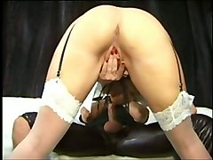 horny and kinky blonde girl playing with her pussy while sucking my dick deepthroat