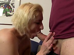 xxx omas - mature german blonde sucks dick in mmf threesome for amateur porn
