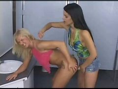 Lesbian Anal Strapon Sex In The Bathroom