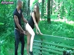 Cute teen at the park gets a visit and decides to bend over for a fuck