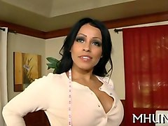 mature brunette milf seduces a young dude and fucks his brains out