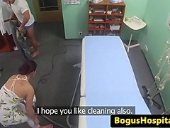 doctor bangs cleaning maid on bed