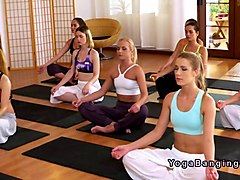 yoga teacher bangs two babes in threesome