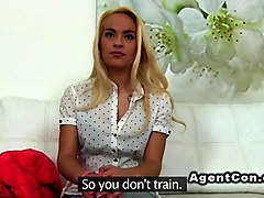 Fake agent shoves dick into blondes cunt