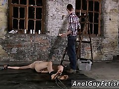 gay bondage clips chained to the warehouse floor and incapa
