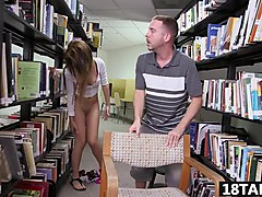 Sweet teen Joseline Kelly likes it in the library