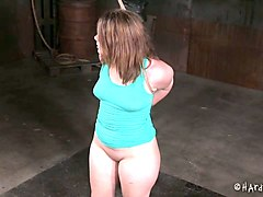 curvaceous white slut bound and duct taped in the basement
