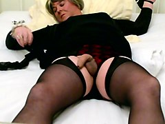 Self-Tied Carolyn Cums in Stockings