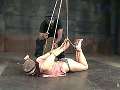 bound and blindfolded white lady on the floor teased with hitachi