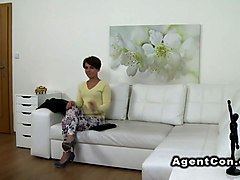 Slim brunette rides fake agent dick