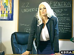 Hot MILF teacher DPed by two students