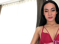 Lovely asian ladyboy masturbates cock
