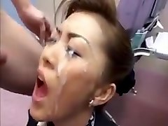 Japanese bukkake  cum-in-mouth uncensored