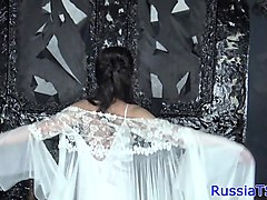 sensual russian tranny blows camera guy pov
