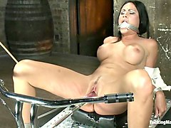 Her Body Tied Up, Her Legs Bound and Caned, Her Pussy full on Machines