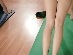 trainer and curvy babes doing yoga naked